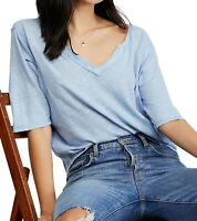 Free People Womens Top Muted Blue Size XS Head In The Clouds Split Neck $68- 310