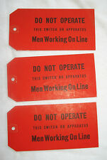 Pennsylvania Railroad Lot of 3 Red Repair Warning Tags for Switches 1952 Mint