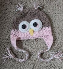 Owl Crochet Hat Baby Infant Toddler Girl Pink Brown 6-18 months