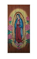 Bamboo Beaded Curtain Hand Painted-Virgin of Guadalupe