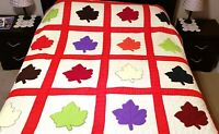 """Beautiful Handmade Maple Leaf Quilt 89"""" x 74"""" Hand Stitched Applique Full Size"""