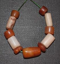 Set Of Antique Carnelian & White Agate Stone Beads Excavated From Mali, Africa
