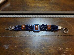 Vintage Jay King Sterling Silver Lapis Amber Bracelet