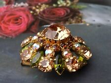 FRENCH Vintage 50s RHINESTONE & Aurora Borealis  BROOCH PIN Multi Green, Sherry