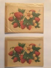 """Lot of 2 Vintage Meyercord Decals Strawberry plant 426-C 4x5 1/2""""  New old stock"""