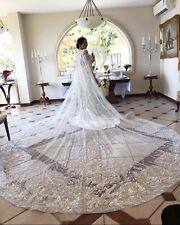 New Bridal Wedding Cloaks Bolero Cape Crystal Wraps Custom Shrug Cathedral Train