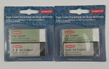 2x DERWENT Dual Eraser Pack 1 black soft art easer 1 white art eraser US Seller
