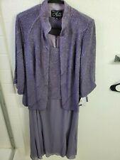 Alex Evenings Women's Plus Size Tea Length Dress with Mandarin Neckline Jacket