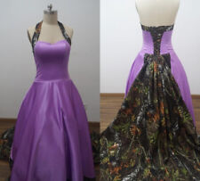 New Camo Wedding Dress Bridesmaid Dress Camouflage Purple Evening Wedding Party