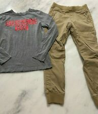 Boys Abercrombie outfit Jogger khaki pants 13- 14 Gray Ls shirt see others