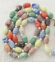 ART DECO Czech VINTAGE Colourful HARLEQUIN Milk GLASS BEADS NECKLACE