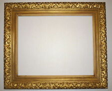 """1950's Gold 19"""" x 15"""" Detailed wood carved design Heavy Picture Frame"""