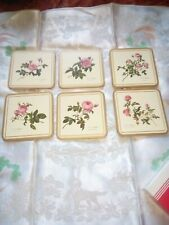 Nice Set Of Six Pimpernel Coasters With Roses