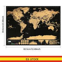 GRANDE mapamundi rascar país continentes poster pared Para rascar 82.5 x 59.4 cm