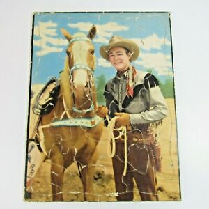 """Vintage Roy Rogers Frame Tray Puzzle 1949 Cowboy & Horse 11.25"""" x 14.75"""""""