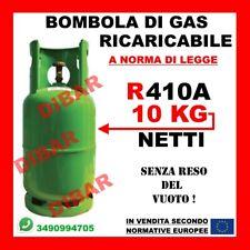 BOMBOLA DI GAS REFRIGERANTE R410 R410A DA 10KG RICARICABILE SENZA RESO DEL VUOTO