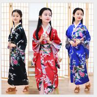 Gril's Vintage traditional Japanese Kimono Yukata Haori Kids' Yukata obi Dress