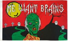 Happy Halloween Zombie Flag Halloween Me Want Brains Flag 3x5ft