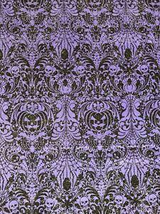 Fabric Traditions Purple Halloween Spooky Skull & Pumpkin Damask w/ Glitter BTHY