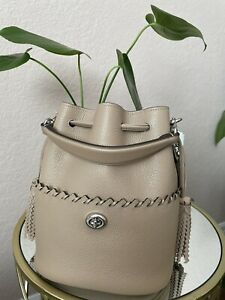NWT Coach Lora With Whipstitch Detail Light Nickel/Taupe Bucket