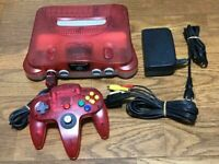 Nintendo 64 Clear Red Console System Controller NUS-001 N64 Japan