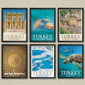 A4 Vintage Travel Posters: Turkey Pamukkale Dalyan Cleopatras pool Lycian Tombs