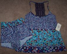 NWT In Bloom by Jonquil Navy/Aqua Floral SLINKY Knit Pajama Shorts/Top Set M