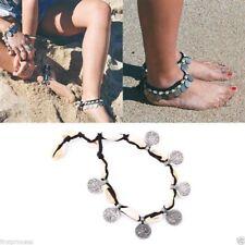 Pulsera tobillera bohemia aleacion concha Beach Silver Coin Shell Ethnic Anklet