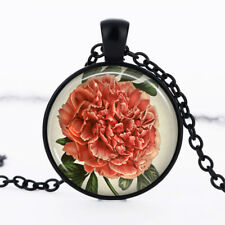 Pink Flower photo Black Dome Glass Cabochon Necklace chain Pendant #400