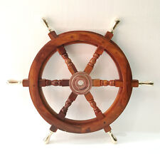 """24"""" Ship Wheel Solid Cherry Wood Brass Handle Nautical Wall Decor Boat antique"""