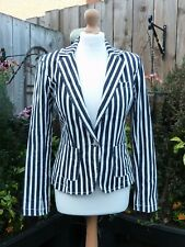 Next Navy Blue White Stretch Striped Nautical Boating Cricket Blazer Jacket 12