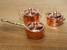 Quality Copper Pan Set, Dolls House Miniature, Miniatures, Kitchen Accessory.