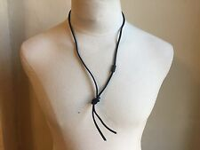 DSQUARED² RARE RUNWAY BLACK STRING WITH METAL SIGNATURE NECKLACE ICON UNI TEXAS
