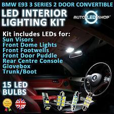 BMW E93 3 Series CABRIO LED INTERIOR COMPLETO FULL KIT Set Lampadina Xenon Bianco