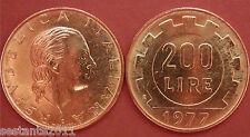 C54  ITALY ITALIA REPUBBLICA 200 LIRE RUOTA DENTATA 1977 KM 105 FDC UNC