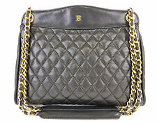 AUTHENTIC BALLY BLACK QUILTED LEATHER CHAIN STRAP SHOULDER BAG MADE IN ITALY