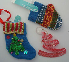 knit Christmas stocking holiday mitt acrylic tree ornaments NEW lot of 3