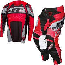 JT Racing Protek Trofeo Motocross MX Kit Pantalones y Jersey - Negro/Gris / Rojo