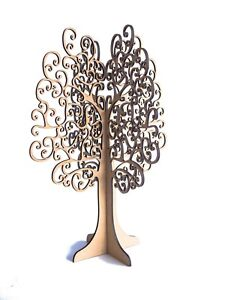 3D Jewellery Necklace Earring Tree Stand Display Organizer Wooden Holder.