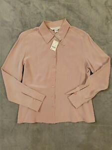 NWT!!! PETITE SOPHISTICATE 100% Silk Button Down Dress Shirt SIZE (8P)