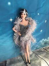 HAND Knitted OOAK Flapper Vestito Per Barbie Doll Bambola di dimensioni o simili