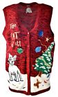 Women's DOG in Trouble Party Ugly Christmas Xmas Button-up VEST Sweater XL A907