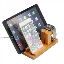Docking STATION SUPPORTO DI RICARICA bambù supporto da tavolo per iPad IWATCH iPhone 5 6 6s +