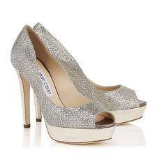 Jimmy Choo 'Dahlia' Peep Toe Champagne Glitter Platform Heels Size Eu 37 Uk 4