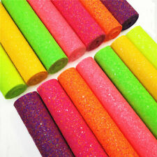 Iridescent Frosted Neon Fluorescent Chunky Glitter Fabric Sheets for Bows Crafts