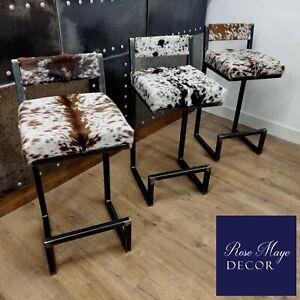 BESPOKE - Cowhide topped Steel bar stools - WITH BACKS - Handmade in the U.K