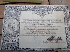 original Urkunde  Centenarmedaille  Braunschweig  IR 92