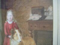 "LARGE VICTORIAN WATERCOLOUR DOG GIRL GILT FRAME 19th ANTIQUE MONOGRAM 22"" X 26"""