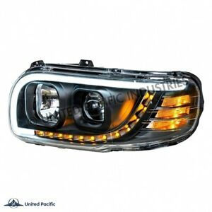 peterbilt 389 388 black projection Headlight pair driver passenger w/led signal