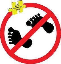 "No Bare Feet Restaurant Pub Bar Decal Sticker 3.0"" x 3.0"""